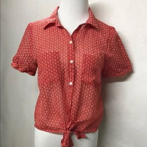 Forever 21 Red White Floral Button Up Sheer Top